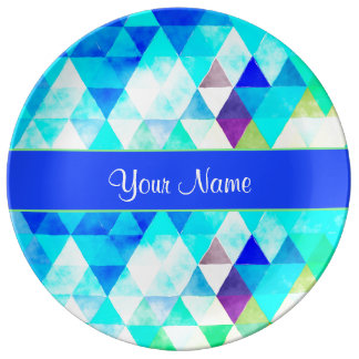 Blue Watercolor Geometric Triangles Plate