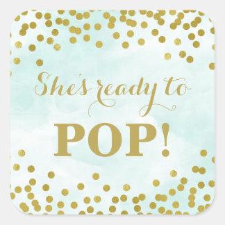 Blue Watercolor Gold Confetti She's Ready to Pop Square Sticker