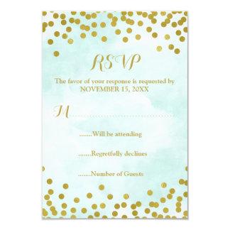 Blue Watercolor Gold Confetti Wedding RSVP Card
