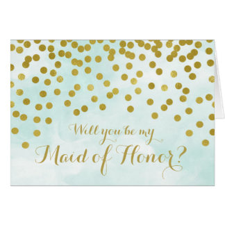 Blue Watercolor Gold Dots Maid of Honour Invite
