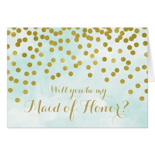Blue Watercolor Gold Dots Maid of Honour Invite Card