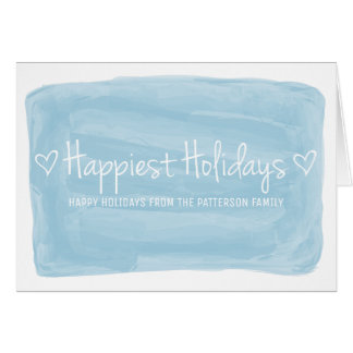 Blue Watercolor Happiest Holidays Card