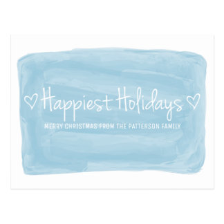 Blue Watercolor Happiest Holidays Postcard