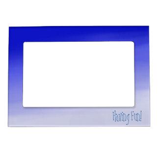 Blue Watercolor Having Fun Magnetic Photo Frame