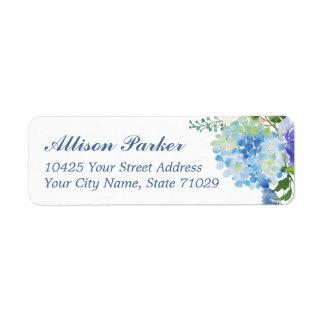 Blue Watercolor hydrangea Address Labels