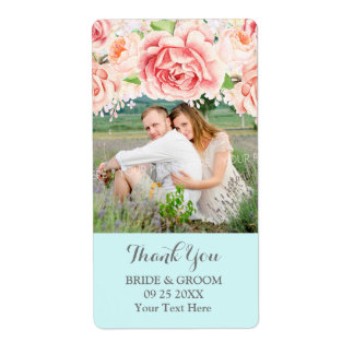 Blue Watercolor Lilac Photo Wedding Label Shipping Label