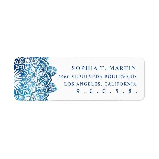 Blue Watercolor Mandala Medallion Yoga Meditation Return Address Label