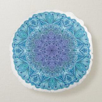 Blue Watercolor Mandala Round Cushion
