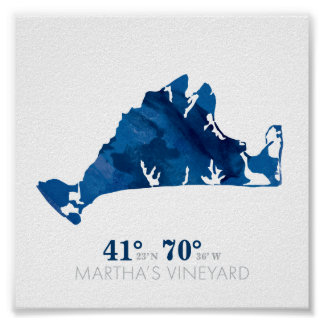 Blue Watercolor Martha's Vineyard Coordinates Poster