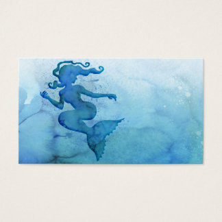 Blue Watercolor Mermaid Business Card