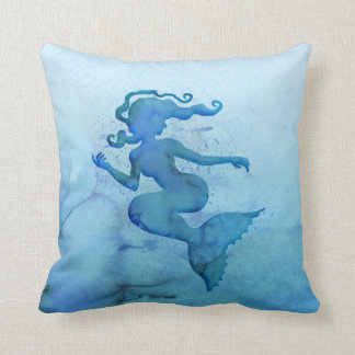 Blue Watercolor Mermaid Throw Pillow