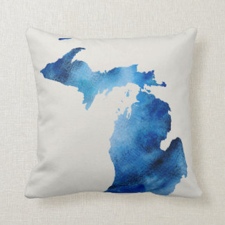 Blue Watercolor Michigan Silhouette | Customise It Throw Pillow