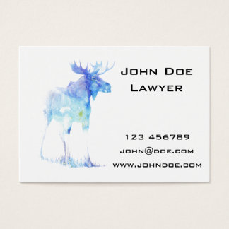 Blue watercolor Moose illustration Business Card