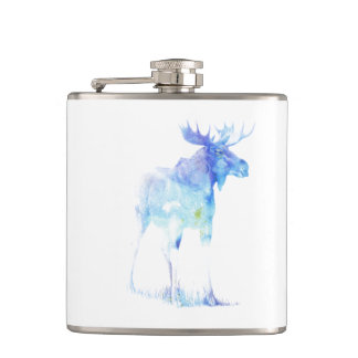Blue watercolor Moose illustration Hip Flask