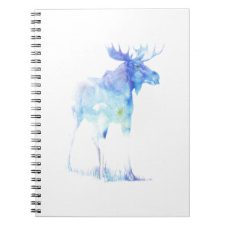 Blue watercolor Moose illustration Spiral Note Books