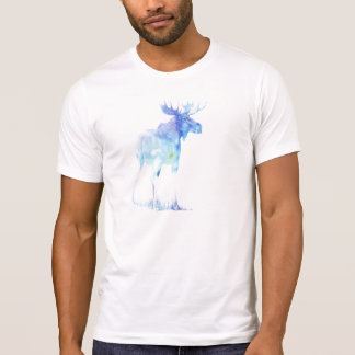 Blue watercolor Moose illustration T-Shirt