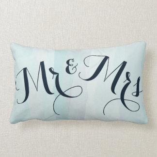 Blue Watercolor Mr. and Mrs. Accent Pillow