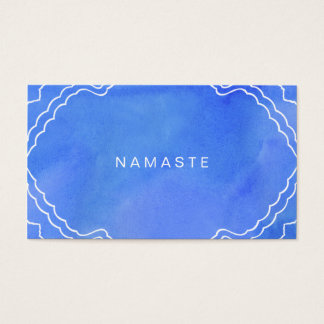Blue Watercolor Namaste Yoga Instructor Business Card
