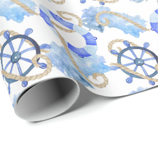 Blue watercolor nautical design with anchor, shell