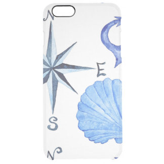 Blue watercolor nautical design with anchor, shell clear iPhone 6 plus case