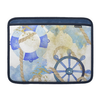 Blue watercolor nautical design with anchor, shell sleeve for MacBook air