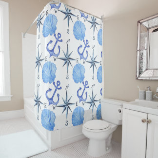 Blue watercolor nautical design with, beach shower curtain