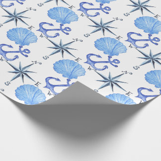 Blue watercolor nautical design with shell, anchor wrapping paper