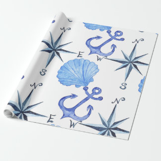 Blue watercolor nautical design wrapping paper