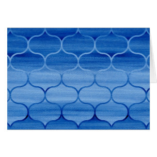 Blue Watercolor Ogee Pattern Birthday Card