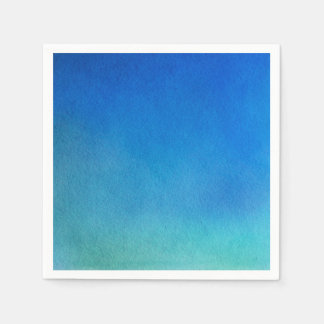 Blue Watercolor Ombre Disposable Serviettes
