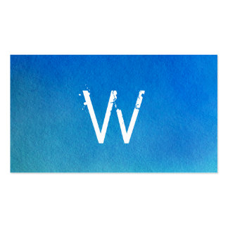 Blue Watercolor Ombre Monogram Business Card Template