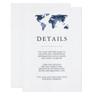 Blue Watercolor on White | World Map Guest Details Card