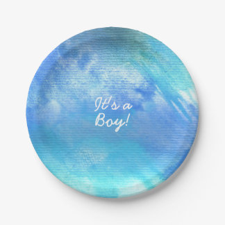 Blue Watercolor Paint baby shower or party plates