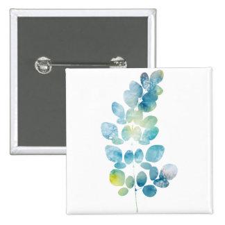 Blue Watercolor Paint Leaf 15 Cm Square Badge