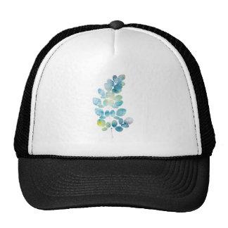 Blue Watercolor Paint Leaf Cap