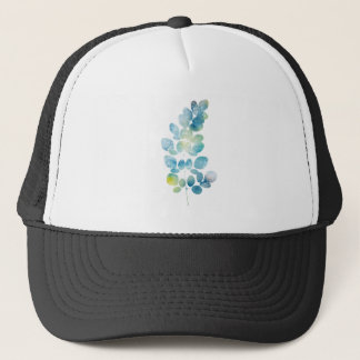 Blue Watercolor Paint Leaf Trucker Hat