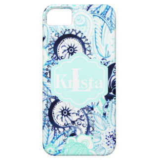 Blue Watercolor Paisley Print w/Full Name Monogram Case For The iPhone 5