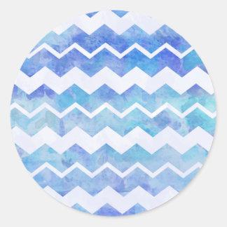 Blue Watercolor Pattern Chevron Pattern Background Round Sticker