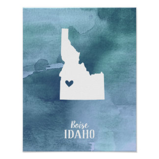 Blue Watercolor Personalized Idaho Art Print