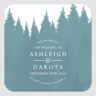 Blue Watercolor Pine Tree Forest | Save The Date Square Sticker