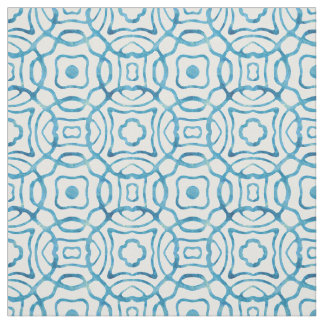 Blue Watercolor Quatrefoil Block Print Fabric
