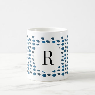 Blue Watercolor Raindrop Initial Custom Coffee Mug