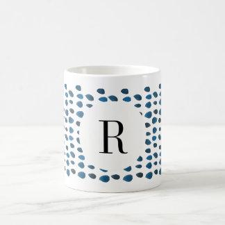 Blue Watercolor Raindrop Initial Custom Coffee Mug