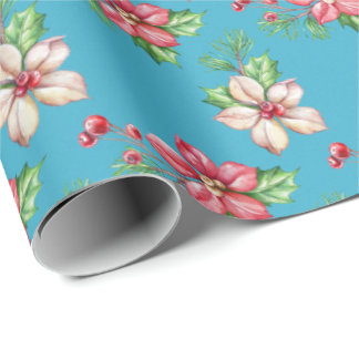 Blue Watercolor Red & White Poinsettia Gift Wrap