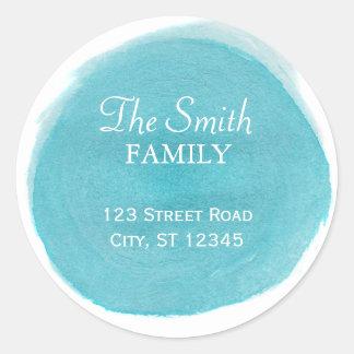 Blue Watercolor Return Address Round Sticker