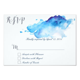 Blue watercolor RSVP Cards III 9 Cm X 13 Cm Invitation Card