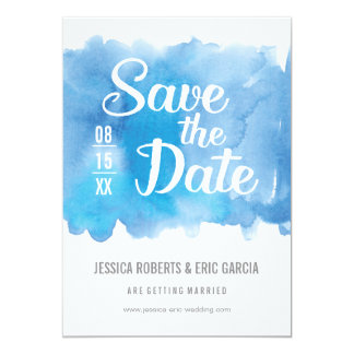 Blue Watercolor Save the Date Card