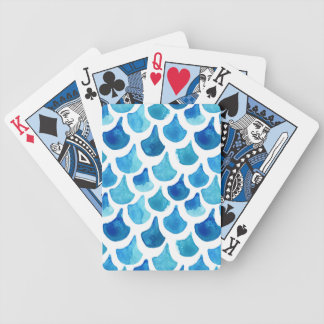 Blue Watercolor Scale Pattern Bicycle Playing Cards