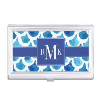 Blue Watercolor Scale Pattern Business Card Holder