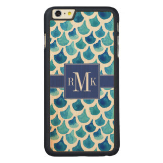 Blue Watercolor Scale Pattern Carved Maple iPhone 6 Plus Case